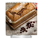 Freshly Baked Zucchini Bread On Rustic Wooden Boards Shower Curtain