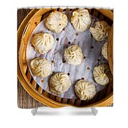 Freshly Cooked Dumplings Inside Of Bamboo Steamer Ready To Eat  Shower Curtain