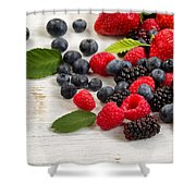 Freshly Picked Berries On Rustic White Wooden Boards Shower Curtain