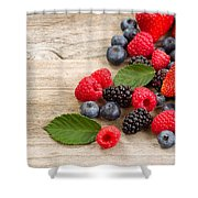 Freshly Picked Berries On Rustic Wooden Boards Shower Curtain