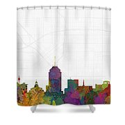 Fresno Cityscape And Streetmap Skyline Shower Curtain