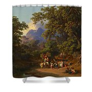 Frey  Johann Jakob 1813 Basel   1865 Frascati  Wedding Procession Of Italian Farmers Shower Curtain
