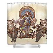 Freya And Her Cat Chariot-garbed Version Shower Curtain