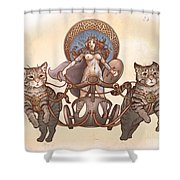 Freya And Her Cat Chariot-nude Version Shower Curtain
