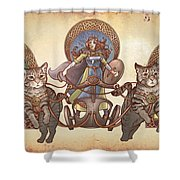 Freya Driving Her Cat Chariot - Triptic Garbed Version Shower Curtain