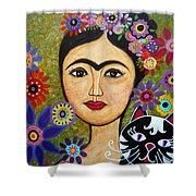 Frida Kahlo And Cat Shower Curtain