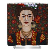 Frida Kahlo With Butterflies Shower Curtain