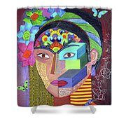 Frida Whit Floers Shower Curtain