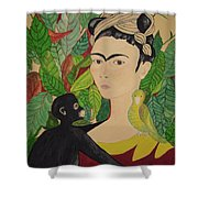 Frida With Monkey And Bird Shower Curtain