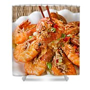 Fried Bread Coated Shrimp And Garnishes On White Serving Plate R Shower Curtain