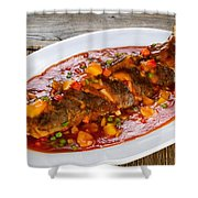 Fried Whole Fish In Sauce With Fruit And Vegetables In White Ser Shower Curtain