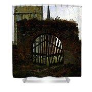 Friedrich Caspar David The Cemetery Gate Shower Curtain