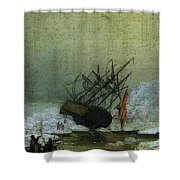 Friedrich Caspar David Wreck By The Sea Shower Curtain