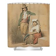 Friedrich Gonne  Two Italian Youths Shower Curtain