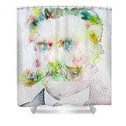 Friedrich Nietzsche - Watercolor Portrait.7 Shower Curtain