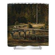 Friedrich Voltz 1817 Nordlingen   Munich 1886 Forest Clearing At A Pond Shower Curtain