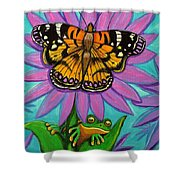 Frog And Butterfly Shower Curtain