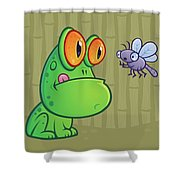 Frog And Dragonfly Shower Curtain by John Schwegel