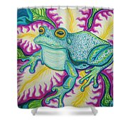 Frog And Flower Shower Curtain