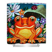 Frog And Flowers Shower Curtain