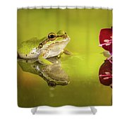 Frog And Fuchsia With Reflections Shower Curtain