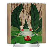 Frog And Silhouette Shower Curtain