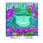 Frog And Spring Flowers Shower Curtain