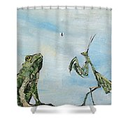 Frog Fly And Mantis Shower Curtain by Fabrizio Cassetta