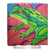 Frog On Flower Shower Curtain