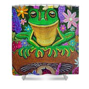 Frog On Mushroom Shower Curtain