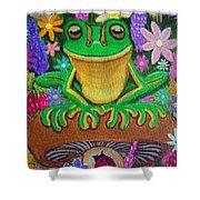 Frog On Mushroom Shower Curtain