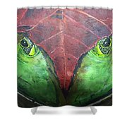 Frog With Leaf Shower Curtain