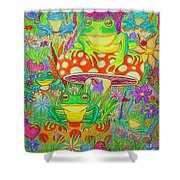 Frogs And Mushrooms Shower Curtain