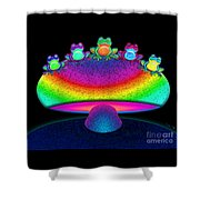 Frogs And Rainbow Mushroom Shower Curtain