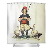 Frolic For Fun Boy And Geese Shower Curtain