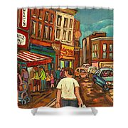 From Schwartz's To Warshaws To The  Main Steakhouse Montreal's Famous Landmarks By Carole Spandau  Shower Curtain