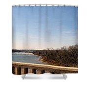 From The Bridge The Red River Shower Curtain