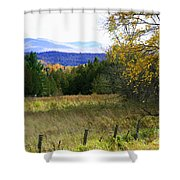 From The Field To The Mountains Shower Curtain