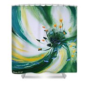 From The Heart Of A Flower Green Shower Curtain