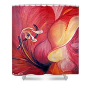 From The Heart Of A Flower Red Shower Curtain