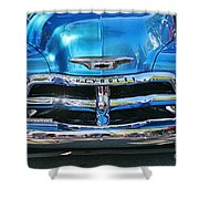 Front End Blue And Chrome Chevy Pick Up Shower Curtain