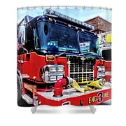 Front Of Fire Truck With Hose Shower Curtain
