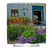 Flowers In Front Of Napier Common Room At Pilgrim Place In Claremont-california Shower Curtain