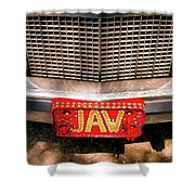 Front Of The Car - Grill And Plate Shower Curtain