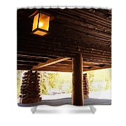 Front Porch Of Old Faithful Inn Shower Curtain