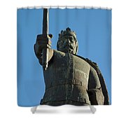 Front View Of King Afonso The Third Statue. Portugal Shower Curtain