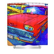 Front View Of Red Retro Car  Shower Curtain