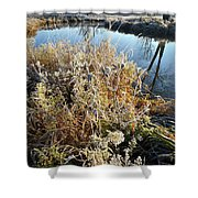 Frost Along Nippersink Creek In Glacial Park At Sunrise Shower Curtain