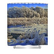 Frost Along The Creek - Panorama Shower Curtain