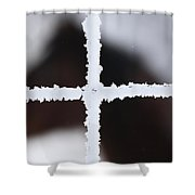 Frost Covered Fence And Horse Shower Curtain